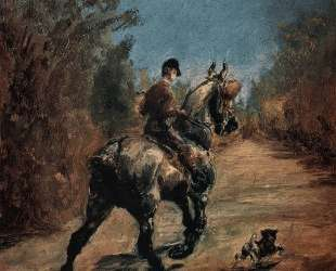 Horse and Rider with a Little Dog — Анри де Тулуз-Лотрек