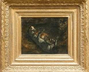 Лошадь, атакованная львицей — Эжен Делакруа