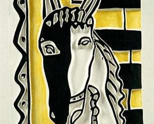 Horse head on a yellow background — Фернан Леже