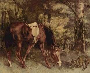 Лошадь в лесах — Гюстав Курбе