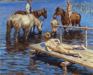 Купание коней — Николай Богданов-Бельский