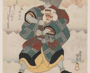 Ichikawa Danjuro VII Wielding an Axe wearing a White haired Wig — Утагава Кунисада