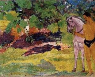 В ванильной роще, человек и лошадь — Поль Гоген