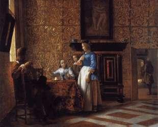 Interior with Figures — Питер де Хох