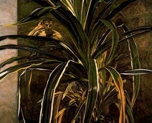 Интерьер с растением, слушающее отражение (автопортрет) — Люсьен Фрейд