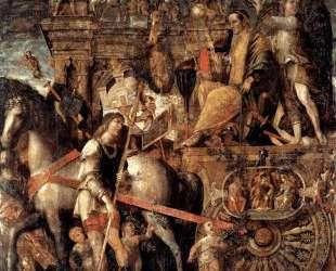 Julius Caesar on a triumphal car — Андреа Мантенья