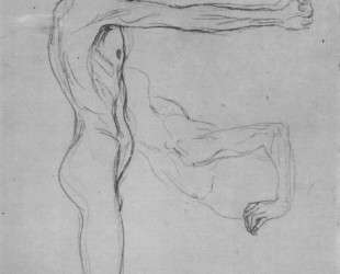Kneeling Male Nude With Sprawled Out Arms, Male Torso — Густав Климт