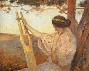 Lady with Lyre by Pine Trees — Анри Мартен