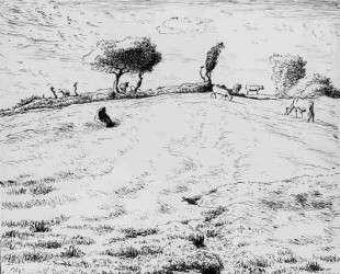 Пейзаж с холмами близ Граши — Жан-Франсуа Милле