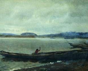 Волжский пейзаж с лодками — Илья Репин
