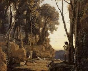 Пейзаж, заходящее солнце (Маленький пастух) — Камиль Коро