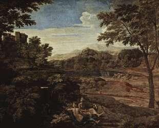 Пейзаж с человеком, убитым змеей — Николя Пуссен