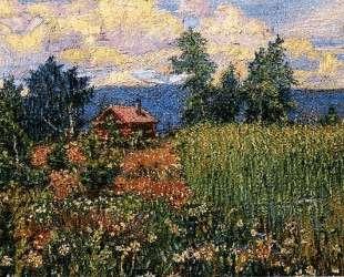 Пейзаж с розовым домом — Давид Бурлюк