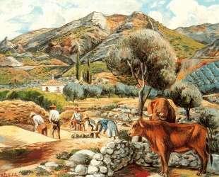 Landscape with artist's farmhouse in Fique — Рафаэль Забалета