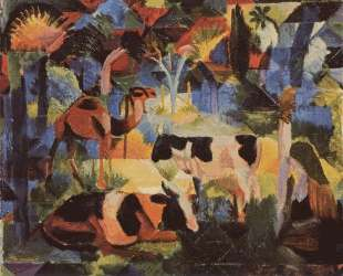 Landscape with Cows and a Camel — Август Маке
