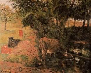 Пейзаж с коровами в саду — Поль Гоген