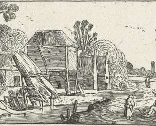 Landscape with farmhouse and barn on stilts at a water — Эсайас ван де Вельде