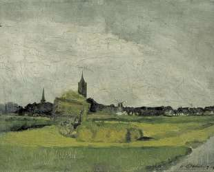Landscape with hay cart, church towers and windmill — Тео ван Дусбург