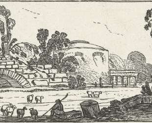 Landscape with ruins and shepherds with sheep — Эсайас ван де Вельде