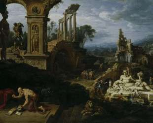 Landscape with St. Jerome — Мартен ван Хемскерк
