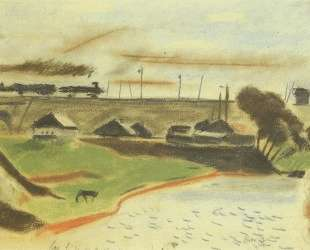 Пейзаж с поездом — Александр Дейнека