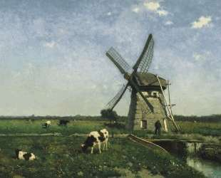 Landscape with windmill near Schiedam — Иохан Хендрик Вейсенбрух