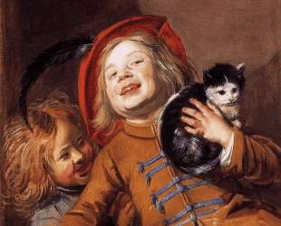Laughing Children with a Cat — Юдит Лейстер