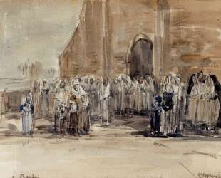 Leaving Mass at Plougastel — Эжен Буден