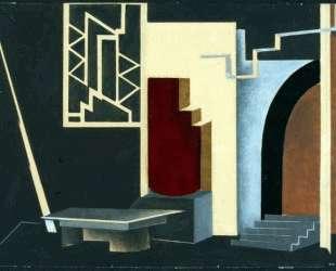 Библиотека в доме да Силвы (дизайн сцены для «Уриэль Акоста») — Натан Альтман
