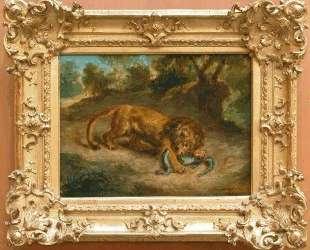 Лев и аллигатор — Эжен Делакруа