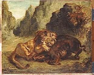 Лев и кабан — Эжен Делакруа