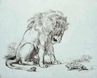 Лев и черепаха — Эжен Делакруа