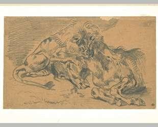 Лев, пожирающий лошадь — Эжен Делакруа