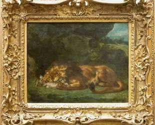 Лев, пожирающий кролика — Эжен Делакруа