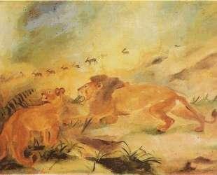 Lion with lioness — Антонио Лигабуэ