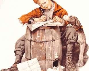 Little boy writing a letter — Норман Роквелл