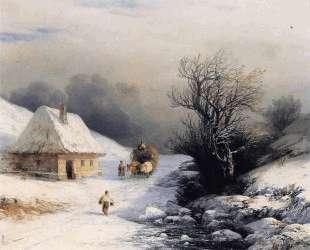 Телега с волами зимой — Иван Айвазовский