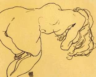 Long haired nude, bent over forward, jerk view — Эгон Шиле