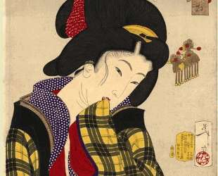 Looking shy — the appearance of a young girl of the Meiji era — Цукиока Ёситоси