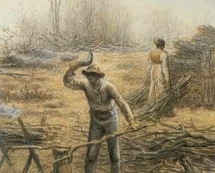 Дровосек разводит костер — Жан-Франсуа Милле