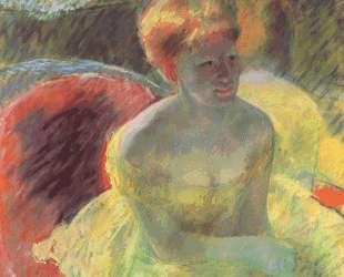 Лидия Кассат сидит в ложе, опершись на руки — Мэри Кассат