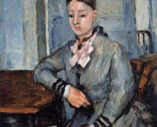 Madame Cezanne Leaning on a Table — Поль Сезанн