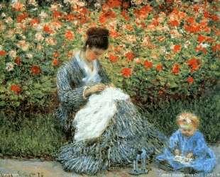 Мадам Моне с ребенком в саду художника в Аржантее — Клод Моне