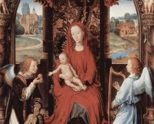 Мадонна и младенец на троне с двумя ангелами — Ганс Мемлинг
