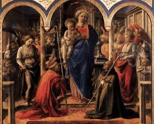 Madonna and Child with St. Fredianus and St. Augustine — Филиппо Липпи