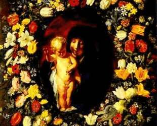 Madonna and Child wreathed with flowers — Якоб Йорданс