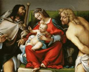 Madonna with St. Roch and St. Sebastian — Лоренцо Лотто