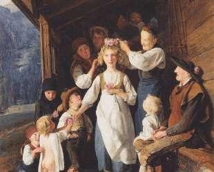 Maid with garland — Фердинанд Георг Вальдмюллер