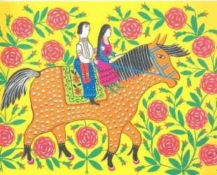 Maiden and Cossack Enjoying a Ride on Horseback — Мария Примаченко