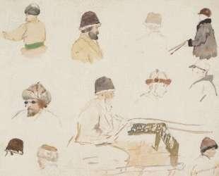 Мужские головы в зимних шапках — Василий Суриков